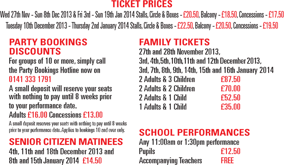 Tickets and Prices for Pinocchio at The Pavilion Theatre, Glasgow